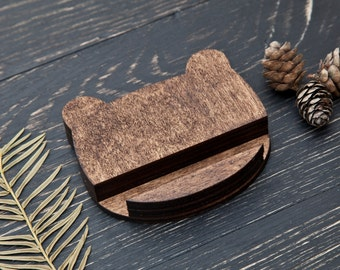 Bear Phone Stand, Woodland Kitchen iPad Stand, Cute Brown iPhone Stand, Gift Office Accessory, Wooden Stand, Gift for Him, Bear Ears