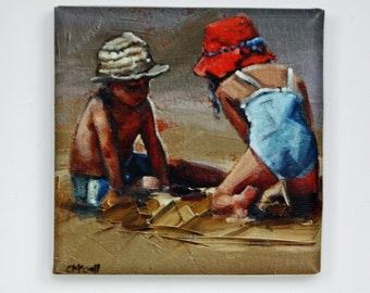 Tiny Canvas | Summer Holiday | Children In Art | Canvas Print | Wall Art | Brother and Sister | Small Art Print | Present | Collectible