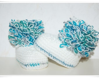 Baby shoes Loopy baby shoes baby booties crochet crochet booties baby newborn photo prop photography