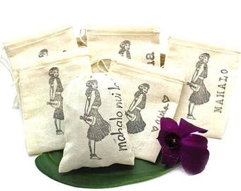 Favor Bags, Hawaii Themed Favor Bags, Party Favor, Beach Wedding, Mahalo, Favor Bags, Party Favors, Hula Girl, Gift Card holder, Hula Girl