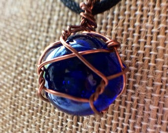 Blue marble necklace, pendant necklace, handmade jewelry, blue jewelry, necklaces, wire wrapped marble, wire wrapped jewelry