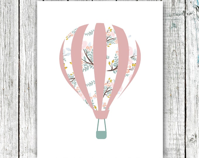 Nursery Wall Art, Baby Girl, Hot Air balloon, Rose, Floral, Digital Download Size 8x10 #585
