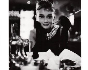 "50% Off Estate Sale Vintage Breakfast at Tiffanys Movie Poster, Mid Century Audrey Hepburn, 12"" x 16"" Thick Paper-Cardboard Print"