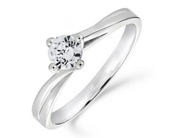 0.50ct Diamond Twist Solitaire Engagement Ring