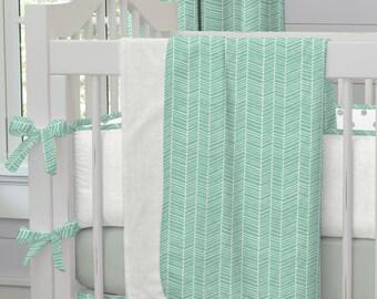 Girl Baby Bedding / Boy Baby Bedding / Gender Neutral Baby Bedding: Mint Herringbone Crib Blanket by Carousel Designs