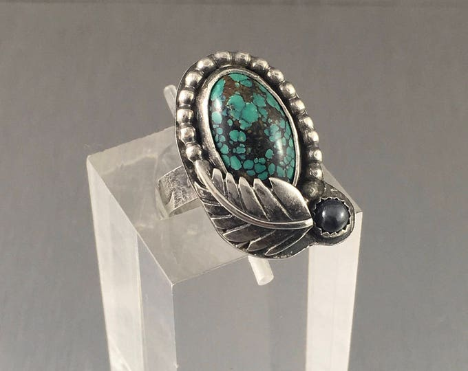 Featured listing image: Handmade turquoise ring, cloud mountain hubei turquoise ring, sterling silver turquoise