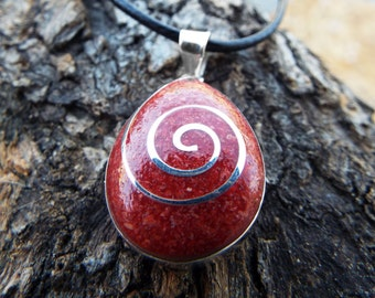 Coral Pendant Gemstone Silver Red Necklace Handmade Sterling 925 Ocean Sea Tear Teardrop Summer Beach Good Fortune Luck Jewelry