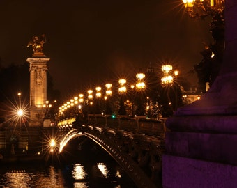 Paris Photography, Fine Art Photography, Pont Alexandre, Night, Paris Night Photography, Large Wall Art, Bedroom Art