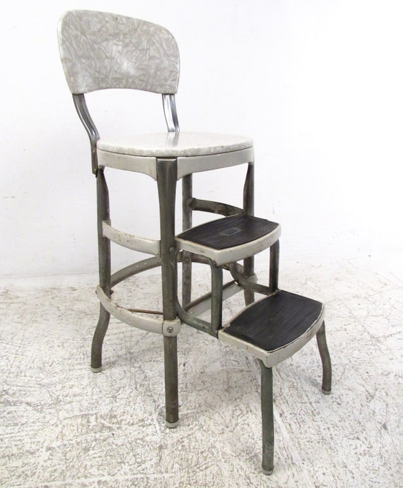 Vintage Industrial Folding Kitchen Step Stool By Cosco