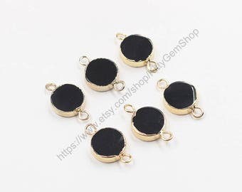 2Pcs, 13mm Round Black Agate Connectors -- With Electroplated Gold Edge Charms Wholesale Supplies CQA-070,YHA