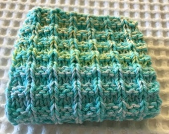 Dish Cloth / Wash Cloth Hand Knitted All Cotton Aqua Bright Colours
