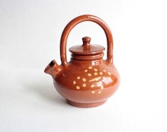 Rustic teapot, pottery teapot, ceramic teapot, rustic pottery, rustic kitchen, brown pottery,