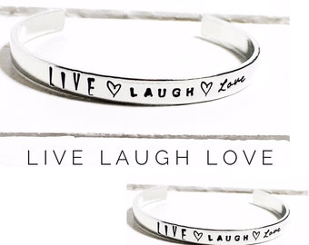 Womens gift | Live Laugh Love | Personalized Gift | Hand Stamped Gift | Personalized Bracelet, Hand Stamped Jewelry By Glam and Co (C091)