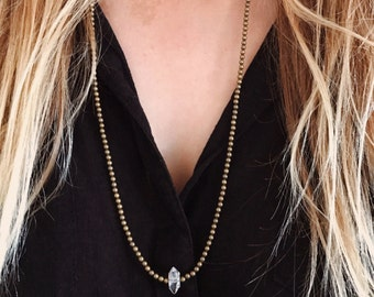 Herkimer Diamond Long Layering Necklace