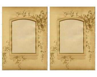 Instant Download Vintage Frames Birds Vintage Printable Brown Frames Bird Images Floral Images Downloadable Premade Page Digital Art Cards