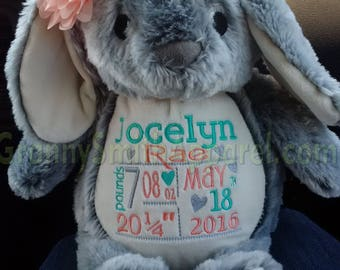 Bunny PLUSH GRAY rabbit stuffie custom stuffed animal.  Embroidered, personalized tummy. Newborn, or a gift for someone left behind.