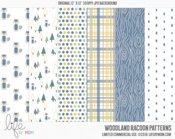 WOODLAND RACOON Digital Paper 12x12 digital scrapbook paper, scrapbook background, digital background, paper pack, card making, download
