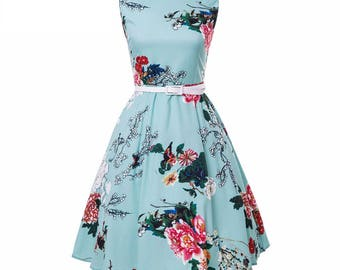 Floral Summer Vintage Dress Mid Calf w Leather Sashes