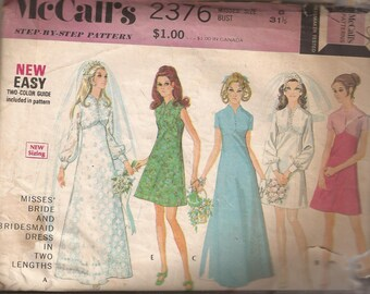 McCalls 2376 Misses Bride and Bridesmaid Dress in 2 Versions, Size 8, Bust 31 1/2 and Size 10, Bust 32 1/2. Vintage 1970