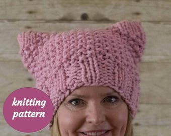 KNITTING PATTERN, Pussyhat, Cat Hat - Instant Download