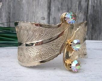 Vintage Cuff Bracelet With Aurora Borealis Rhinestones, Hinged Brass Bracelet, Bangle Bracelet, Vintage Jewelry, Statement Jewelry