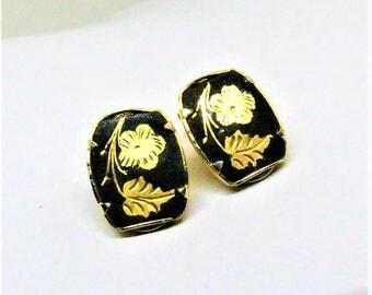 Damascene Earrings - Vintage, Gold Tone, Black Enamel, Clip on