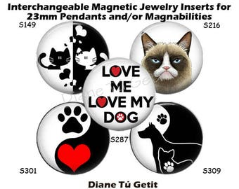 "Jewelry Inserts, Cat or Dog Magnet Insert for Magnabilities, 1 Inch Interchangeable Magnetic Inserts, 1"" Round Button"