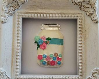 Mason Jar of Buttons  Needle Minder