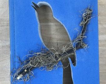 BIRD on BRANCH • SPRING • book cut out • autobahn • bluebird •