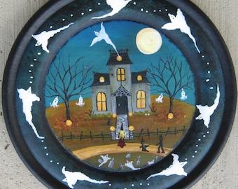 Halloween folk art painting**NEW**Haunted house**Halloween painting