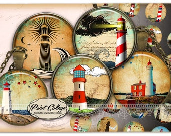 circle images for pendants and craft downloadable images print-it-yourself sheets / Lighthouse / 1.5 inch 16 mm 12 mm 1 inch printables C250