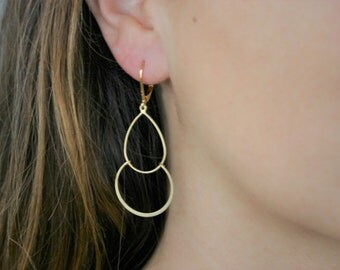 Delicate and fine earrings double ring 16K gold plated