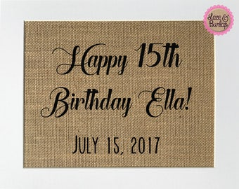 "Burlap sign 8x10 ""Happy Birthday - Name - Date"" CUSTOM -Rustic Country Shabby Chic Vintage Wedding & Party Decor Sign/ Birthday Gift"