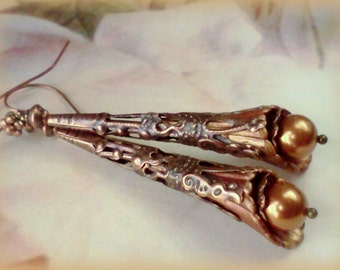 Hand Painted Earrings, Swarovski Pearls,  Copper Pearl Earrings, Copper Filigree Earrings, Swarovski Copper Pearls, Vintage Style Earrings