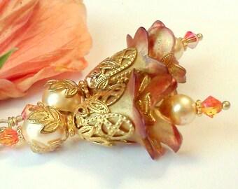 Fairy Earrings, Victorian Style Earrings, Flower Earrings, Hand Painted Earrings, Lucite Earrings,  Renaissance Earrings,  Gift under 25