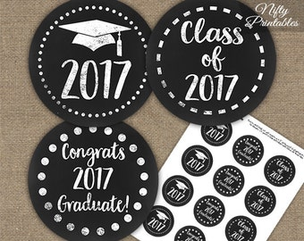 Graduation Cupcake Toppers - Printable 2017 Graduation Decorations - Black White Class of 2017 Grad Party Printable - Chalkboard