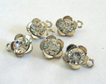Rhinestone Flower Charms,5pcs,Jewelry Tag Charms