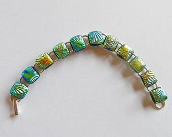 Stunning Fused Glass Dichroic bracelet mainly Green-Glass-Present-Gift