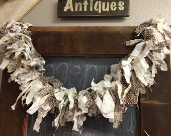 In stock and ready to ship, fabric garland, rag Garland, natural decor, swag
