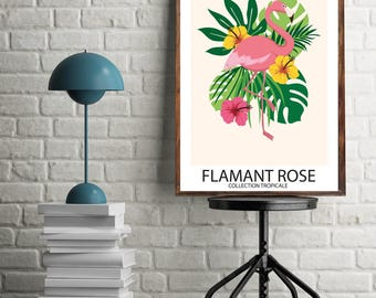 flamant rose tropical etsy. Black Bedroom Furniture Sets. Home Design Ideas