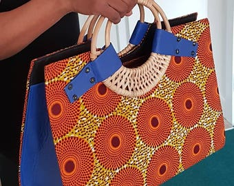 10% Discount use code BAGS10 - African Cane Handle Wax Print Handbags in 3 colours
