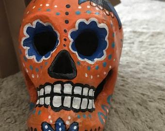 "Hand-painted Paper Mache Sugar Skull ""Namaste in Orange"""