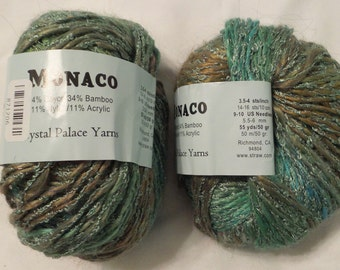 Crystal Palace MONACO Worsted to Bulky Silky Bamboo Vegan Yarn in Lake Tahoe # 419 (Turquoise Blue, Green, Taupe)