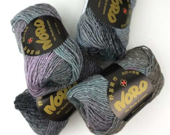 Noro Silk Garden, color 436, cool grays, lilac, malachite, silk knitting yarn