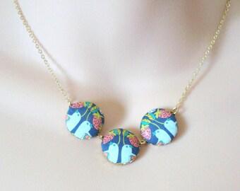 Handmade Button Necklace, Strawberry Birds Necklace, Fabric Button Necklace, Spring Summer Necklace