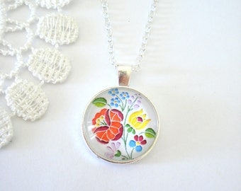 Hungarian Embroidery Necklace, Folk Art Necklace, Floral Pendant, Colourful Bohemian Necklace, Gift for Her