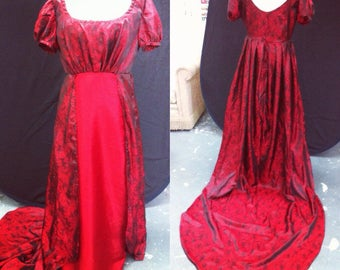 Silky Paisley 'double' Regency style ballgown