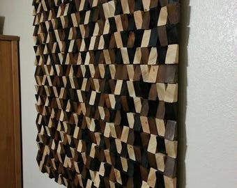 "Wood wall art, wood wall art large, wood wall sculpture, wood wall decor, modern wall art, geometric art, 48"" X 48"", Shipping included!"