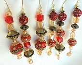 Set of 6 red ornaments, christmas ornaments, glass christmas ornaments, icicle ornaments, tree, victorian ornaments, christmas decorations