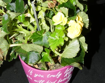 Handmade inspirational quote plant pot - large